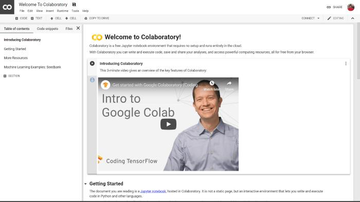 Google Colab - pythonowy obszar roboczy w chmurze
