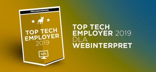 Webinterpret z tytułem Top Tech Employer 2019