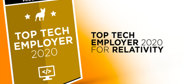 Relativity with the title of Top Tech Employer 2020